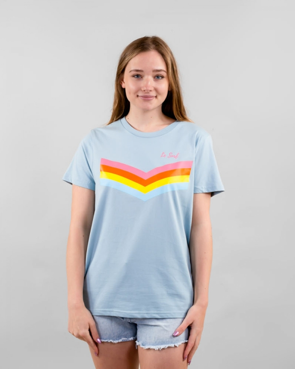 Women's Pale Blue Stripes T-shirt